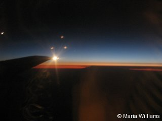 A beautiful sunrise view from the plane.