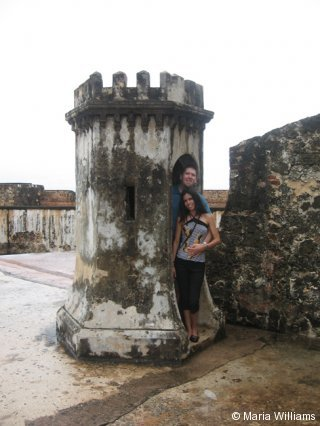 At one of the guard posts at El Morro Fort