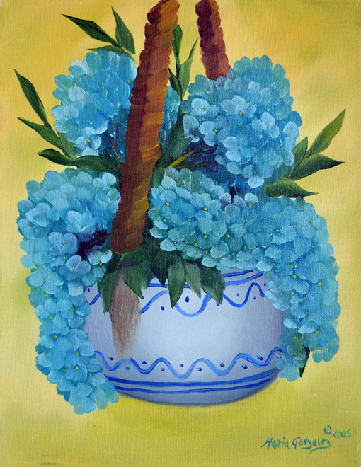Hanging Hydrangeas Basket  by Maria Williams