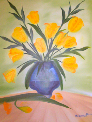 Yellow Tulips, Blue Vase by Maria Williams